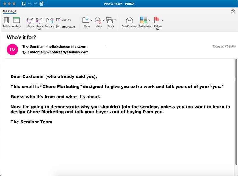 Chore Marketing: Teaching People To Ignore Your Business?